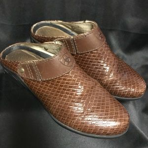Ariat Brown Braided Leather Mules Clogs with Strap